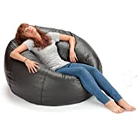 X Rocker 132 Round Extra Large Shiny Bean Bag, Black (1, Black)