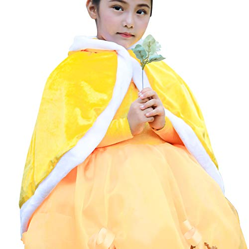 loel Girl's Cape Belle Princess Hooded Cape Yellow Cloak Costume (Belle Cloak, Medium/Recommend Height 47.2
