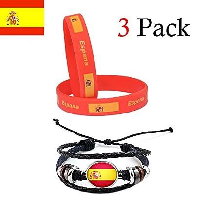0361e362154a Ndier Pulseras de la Bandera de España Paquete de 2 PCS Pulsera de Silicona  y Pulsera