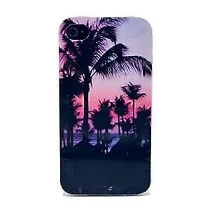 HC-Hermosa Hawaii Paisaje Patrón TPU caso suave para el iPhone 4/4S