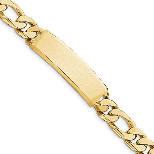 (14k Yellow Gold Hand Figaro Link Id Bracelet 8.5 Inch Fine Jewelry Gifts For Women For Her)