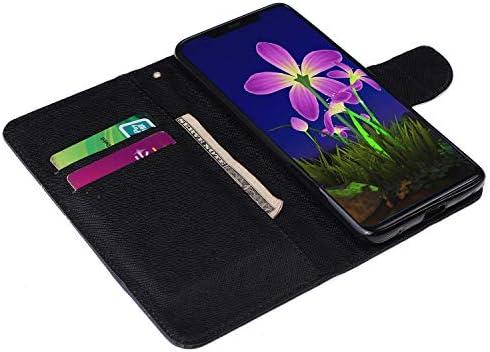 Urhause Kompatibel mit Huawei Mate 20 Pro Hülle, Gemalt Wallet Flip PU-Handyhülle mit [Kartenslots][Magnetverschluss] Ständer Funktion mit Lanyard Stoßfeste Schutzhülle,Schmetterling Baum