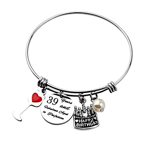 Birthday Gift for Her Adjustable Birthday Bracelet Bangle with Birthday Cake Charm,12th Sweet 16th 18th 21st 30th 39th 40th Bangle gift,Anniversary Gift (39th Birthday) (Happy Birthday Charm)