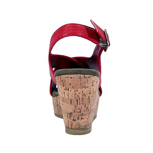 Fuzzy Anja Kvinner Bred Bredde Plattform Kile Slingback Sandaler (størrelse Og Målinger Diagrammer Tilgjengelig) Røde