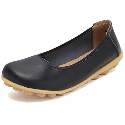 Women Leather Shoes Color Flats Slip On Loafers Black - 4