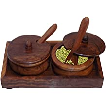 Crafts'man Wooden dining table refreshment bowl set With Tray And Spoon