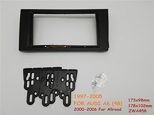 Autostereo 11-458 Double Din Car Radio fascia Facia for AUDI A6 4B 1997-2005 Allroad 2000-2006 Car Radio Stereo fascia AUDI A6 4B Stereo Fascia Dash CD Trim Installation Kit