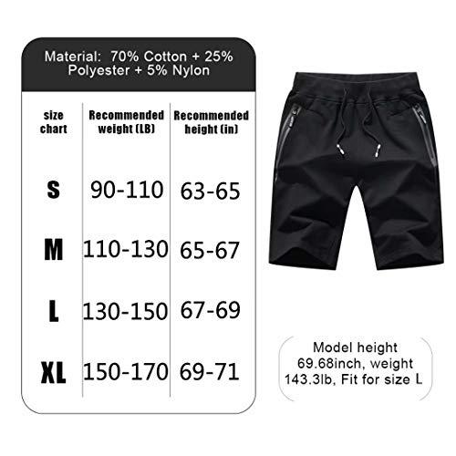 Tansozer Men's Shorts Casual Classic Fit Cotton Jogger Gym Shorts Elastic Waist Zipper Pockets (Black, Large) by Tansozer (Image #1)