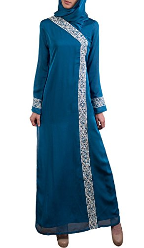 Nakhl Turquoise Embroidered Modest Long Sleeve Formal for sale  Delivered anywhere in USA