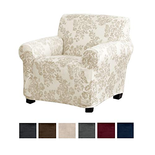 Great Bay Home Modern Velvet Plush Strapless Slipcover. Form Fit Stretch, Stylish Furniture Cover/Protector. Gale Collection Brand. (Chair, Toile - Silver Cloud) (Blue Paisley Ottoman)