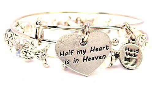 2-Piece-Set-Half-My-Heart-Is-in-Heaven-White-Bangle-Bracelet-Collection