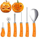 IBASETOY Pumpkin Carving Tools Kit 6 Pieces, Sturdy Stainless Steel Halloween Pumpkin Carving Set – Easily Carve for Family Pumpkin Decorations by Creative Jack-O-Lantern Carving