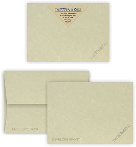 5X7 Blank Cards with A-7 Envelopes - Natural Parchment Look - 50 Sets by Thunderbolt Paper - Lighter & Darker Colors of Pulp - Invitations, Greeting, Thank Yous, Notes, Weddings - 65# Light Cover by ThunderBolt Paper