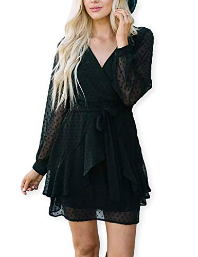 AOOKSMERY Women Cute V Neck Long Sleeve Mini Dresses Solid Polka Dot Swing Dress with Belt Black ()