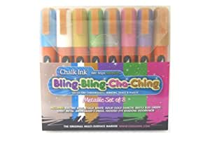 Chalk Ink 6mm Bling-Bling Cha Ching Wet Wipe Markers, 8-Pack