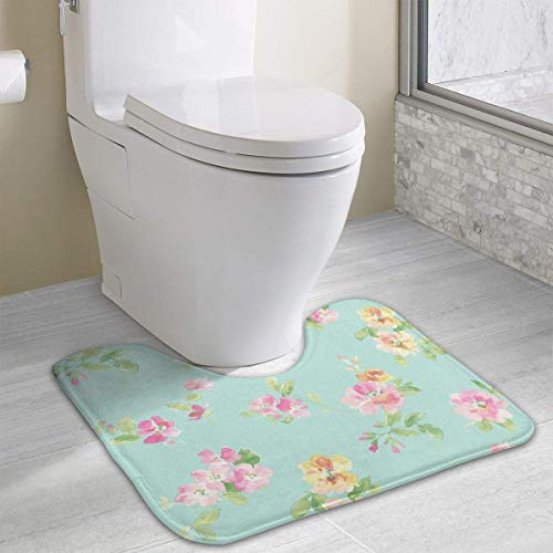 Beauregar Aqua Floral Contour Bath Rugs,U-Shaped Bath Mats,Soft Polyester Bathroom Carpet,Nonslip Toilet Floor MatMachine Wash, 19.2″x15.7″