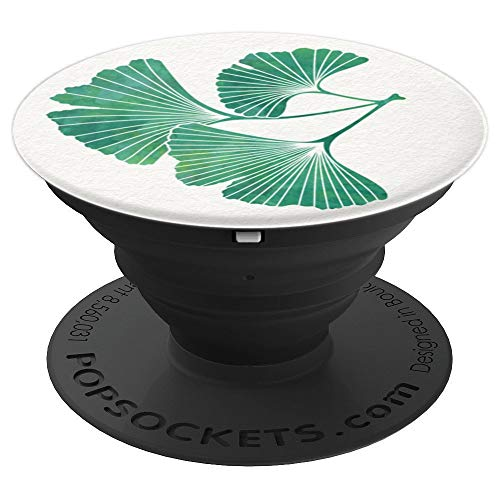 Green Watercolor Ginkgo Leaf On White Gingko Ginko - PopSockets Grip and Stand for Phones and Tablets