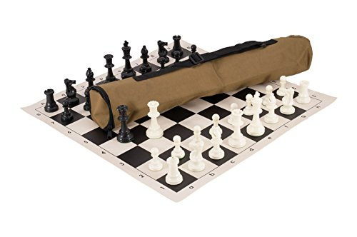 Quiver Chess Set Combination - Triple Weighted - by US Chess Federation (Khaki) ()