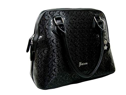 New Guess G Logo Embossed Purse Cross Body Hand Bag Satchel Black Patent Glossy