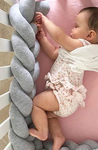Babybett nestchen schlange Nestchenschlange Grau, Zopf mit drei Doppelstr/ängen - 200 cm geflochten Bettumrandung Bettrolle f/ür Babybett