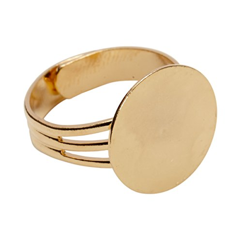 Gold Plated Adjustable Ring Blanks with 16 mm Glue on Pad - 12 Blank Rings Gold Ring Base