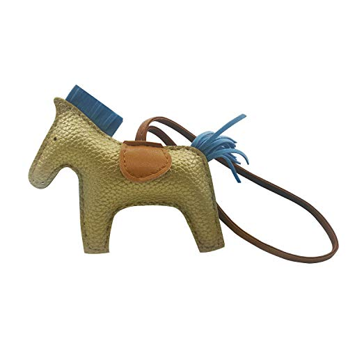 - Bag Charm for Women Purse Charms Horse Leather Keychain Handbag accessory (gold)