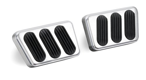 Lokar BAG-6121 Brushed Billet Aluminum Manual Brake/Clutch Pad with Rubber - Pair