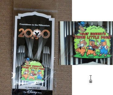 THREE LITTLE PIGS (#13 in this series) PIN from 'COUNTDOWN TO THE MILLENIUM' collection of Walt Disney pins. In 1999, Walt Disney company produced 100 different character pins from Disney movies & cartoon shorts. They disappeared off shelves quickly & are now (almost ten years later) quite scarce. This colorful pin depicts the THREE LITTLE PIGS from 1933. Pin is still factory sealed in its original wrapper, never opened, pristine mint condition.