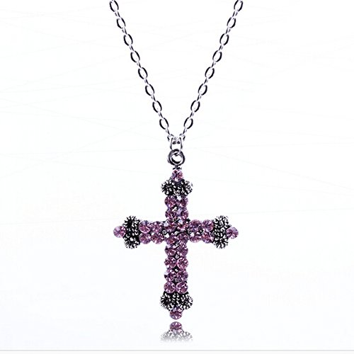 Heygirl Black Friday Flash Diamond CrossPendant Necklace Long Sweater Chain(Purple) (Strand Multi Marcasite)
