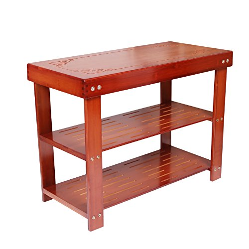 Dline - 100% Natural Bamboo Shoe Bench, Entryway Shoe Bench, Shoe Storage Bench, 2 Tier