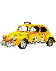 LIOOBO Amarillo Taxi Coche Vintage Modelo de Coche Pequeño Vehículo Retro Mesa de Juguete Tronco de Coche Coleccionable Arte Decorativo Coche para Club Hogar Tienda