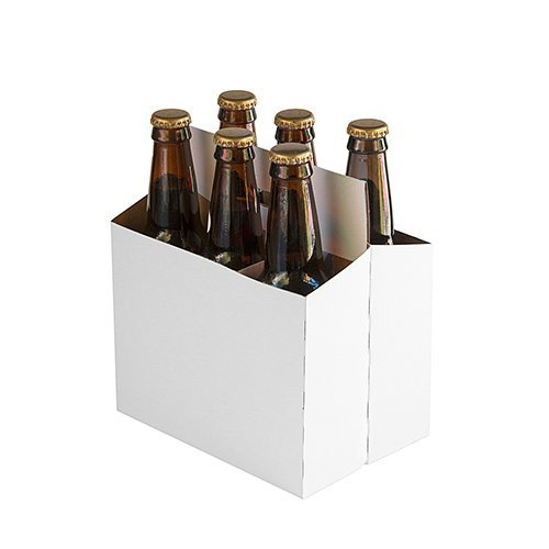 6 Pack Beer Bottle Carrier White (Pack of 10)