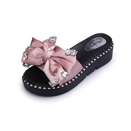 Femmes Piscine étincelante Sandales Rose Bowknot Plat Pantoufle Plage Confort Plate Strass d'été Talon Glisse Forme 1wqB14C