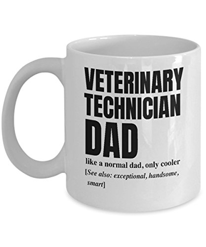 Veterinary Technician Dad Definition White Coffee Mug - Vet Tech Week Gift - Funny Father's Day Cup - Perfect Birthday Present For Daddy or Granddad