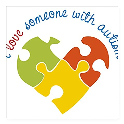 CafePress - Someone With Autism Square Car Magnet 3