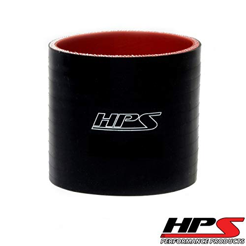 HPS HTSC-400-L4-BLK Silicone High Temperature 4-ply Reinforced Straight Coupler Hose, 45 PSI Maximum Pressure, 4