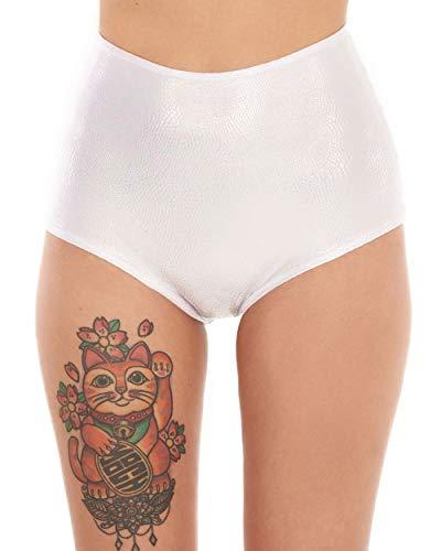Heart Short Panty - iHeartRaves J. Valentine White Wonderland High Waisted Booty Shorts (White, Medium)