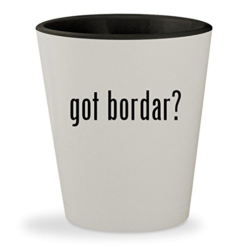 got bordar? - White Outer & Black Inner Ceramic 1.5oz Shot Glass