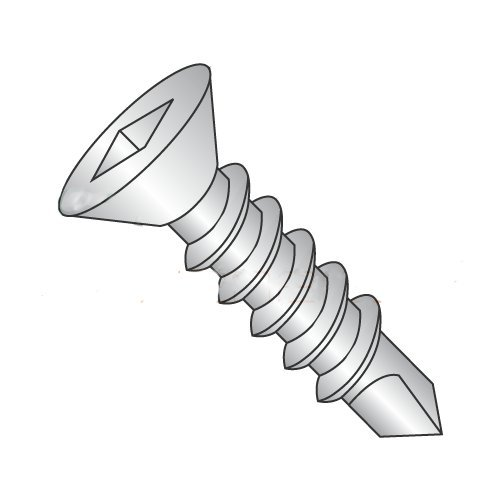 1/4''-14 x 2 1/2'' Self Drilling Screws, Hardened Stainless Steel 410, Flat Head, Square Drive, 3 Point, Type BSD, Full Thread (Quantity: 200 pcs) by Newport Fasteners (Image #1)