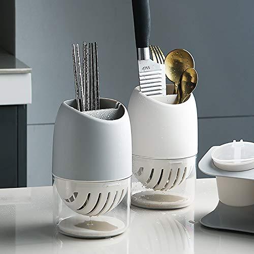 WuGeShop Kitchen Cutlery Utensil Holder Silverware Drying Rack, White Flatware Organizer Silverware Storage Caddy for Forks, Knife, Spoons, Chopsticks, 7 x 4 inches