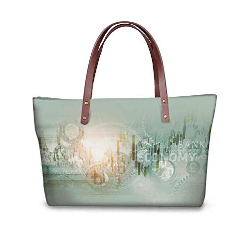 Custom Handbag Tote Shopping Bags Global Economy Abstract Background. World Economy Mechanism Conceptual Background Illustration with Printing Shoulder Bag Travel