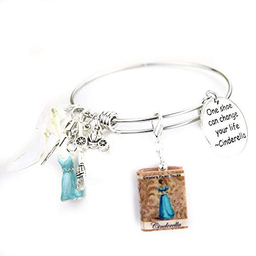 CINDERELLA Fairy Tale Princess Mini Book Expandable Stainless Steel Bangle Bracelet by Book -
