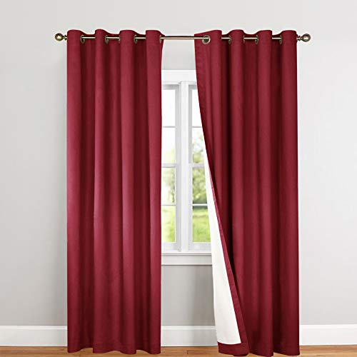 jinchan Room Darkening Curtains Lined Thermal Energy Efficient for Bedroom, Burgundy Light Reducing Drapes for Living Room 95 Inch Length Curtain Panel Grommet Top Sold Individually (Cranberry Curtains)