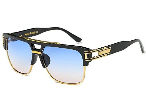Allt Square Aviator Large Fashion Sunglasses For Men Women Goggle Alloy Frame Glasses (Black/Blue Gradient, - Gradient Frames Glasses