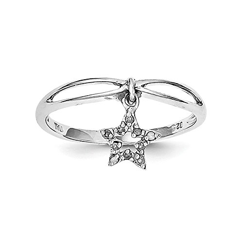 Sterling Silver Rhodium Plated Diamond Star Dangle - Rhodium Star Diamond