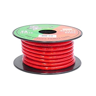 8 Gauge Clear Red Power Wire - 25ft. Copper Cable in Spool for Connecting Audio Stereo to Amplifier, Surround Sound System, TV Home Theater and Car Stereo - Pyramid RPR825: Car Electronics