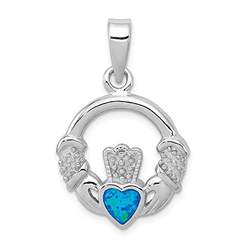 - 925 Sterling Silver Blue Inlay Created Opal Irish Claddagh Celtic Knot Pendant Charm Necklace Fine Jewelry Gifts For Women For Her