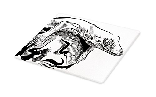 Lunarable Animal Cutting Board, Realistic Sketchy Illustration of a Lizard on Rock Exotic Nature Wildlife Drawing, Decorative Tempered Glass Cutting and Serving Board, Large Size, Black White by Lunarable
