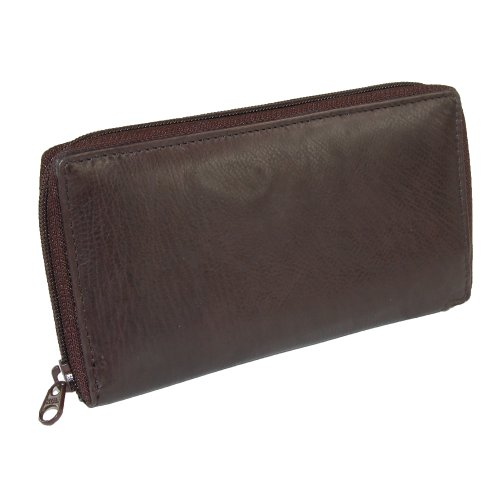 Paul & Taylor Unisex Leather Deluxe Zip Around Checkbook Cover Wallet, Brown