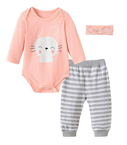 Fiream Baby Girls Cotton Bodysuit Longsleeves Bunny Cartoon